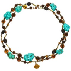 Gorgeous Stephen Dweck Smokey Topaz and Turquoise Sautoir