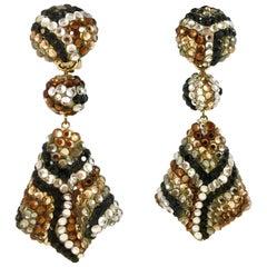 Richard Kerr 1980s Large Animal Pattern Dangle Clip-On Earrings