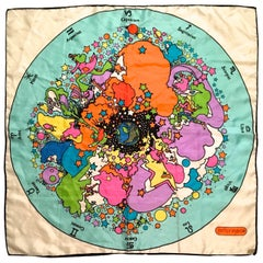 Rare Peter Max Silk Scarf - 1960's - Zodiac