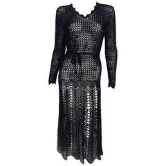 1920s Black Crochet Vintage Dress