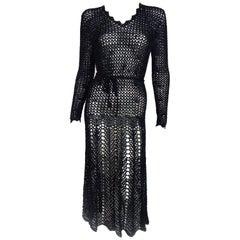 Vintage Black Crochet Dress
