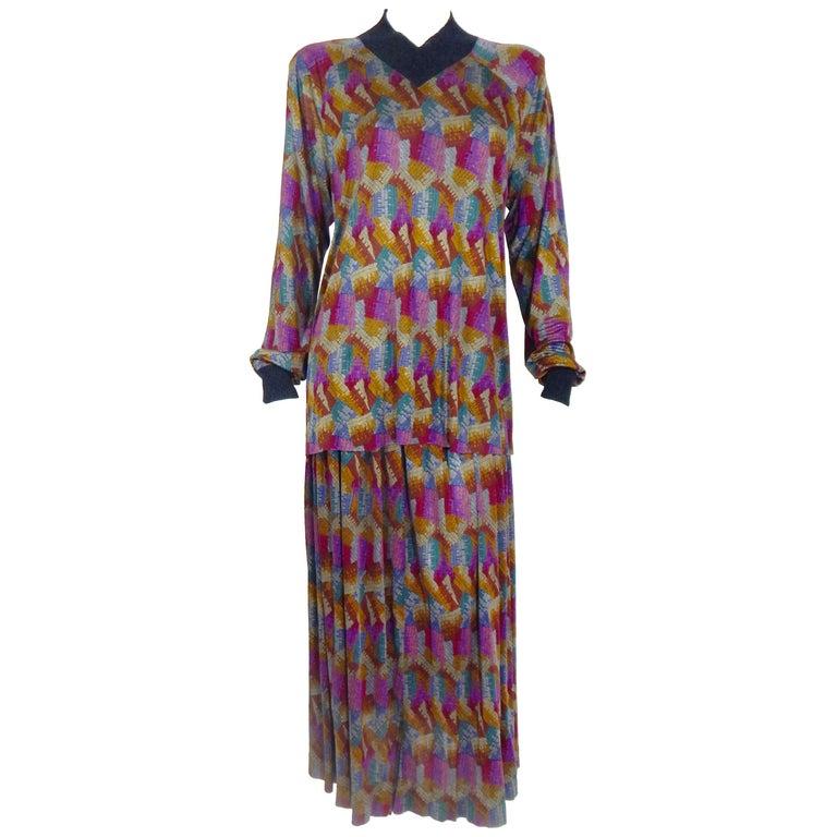 Missoni 100% Silk Matching Skirt and Top Ensemble, 1970s