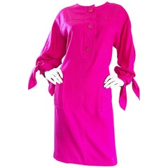 Vintage Givenchy Hot Pink Size 18 Fuchsia Alexander McQueen Cocktail Dress