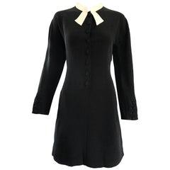 Vintage Kritizia Black and White Long Sleeve Chic Tailored Tuxedo Dress