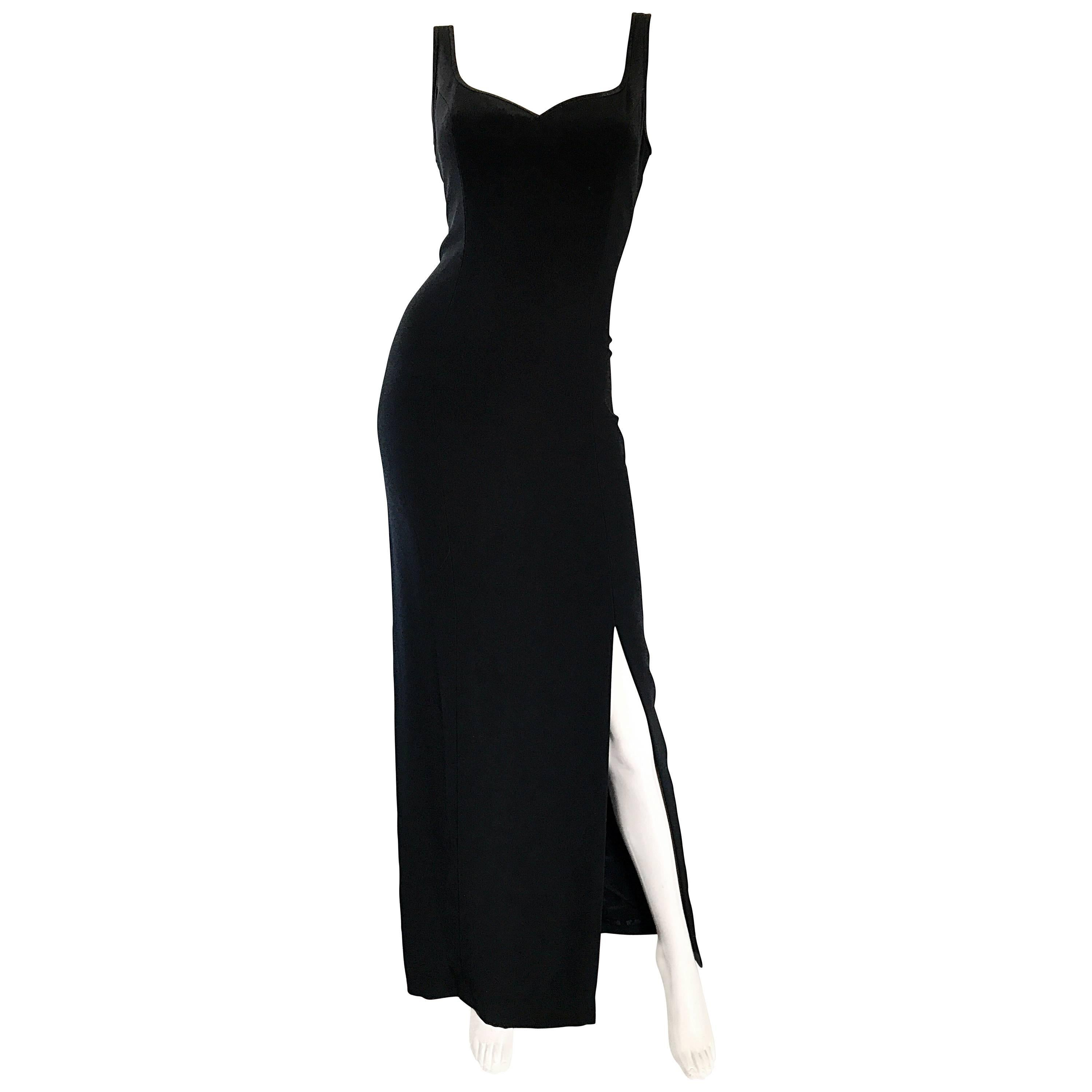 1990s Bob Mackie Size 10 Black Crepe Sexy 90s Vintage High Slit Evening Gown