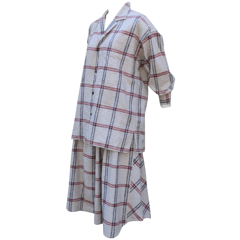 C.1980 Issey Miyake Plantation Deconstructed Skirt & Top Dress Ensemble