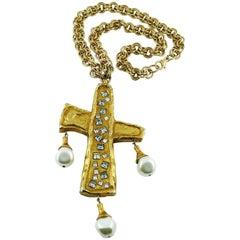 Christian Lacroix Vintage Rare Huge Runway Cross Necklace