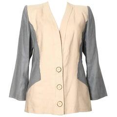 Jacqueline de Ribes 1980s Linen Jacket Size 8 / 10.