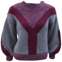 Chunky 1970's Sportswear Style Wool Sweater