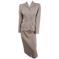 1940s Taupe Skirt Suit Set