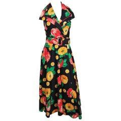 1970s Tropical Print Halter Neck Maxi Dress