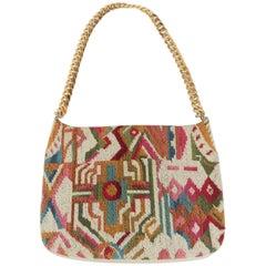 Colorful C.1970 Meyers Geometric Needlepoint Handbag