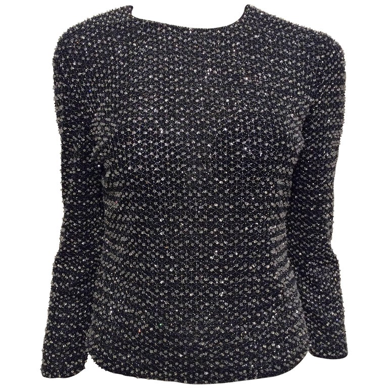 Giorgio Armani Beaded Top Sz Medium For Sale