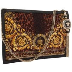 New VERSACE Leather-trimmed baroque-print felt bag