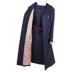 1960s I. Magnin Navy Blue & Red Dress & Coat Set