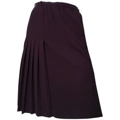 Valentino Boutique Navy Wrap Pleated Skirt Size 4.