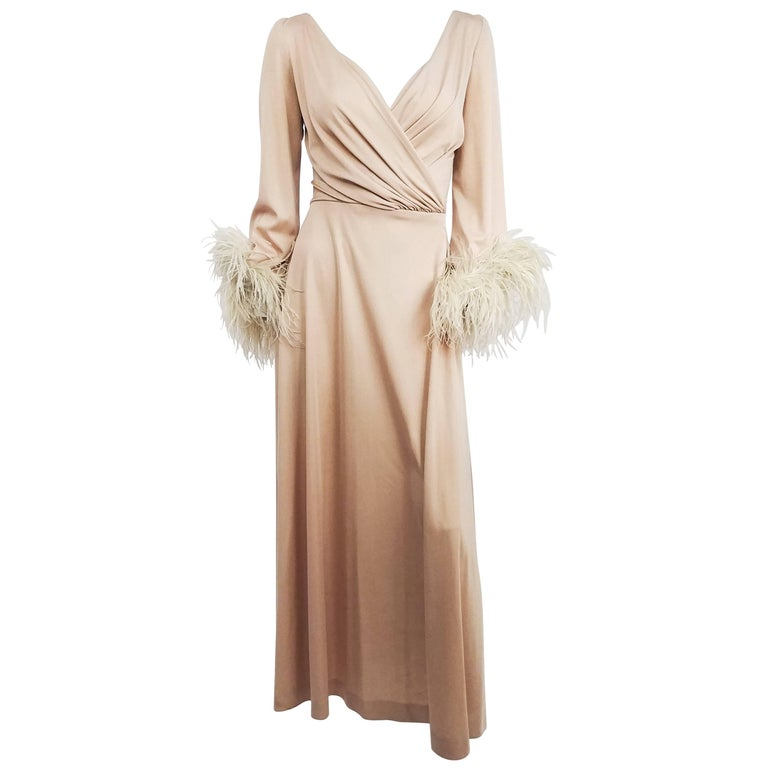 1970s Lilli Diamond Nude Wrap-Style Dress with Feather Trim