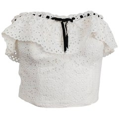1950s White Cotton Eyelet Lace Bustier Top w/ Ruffle