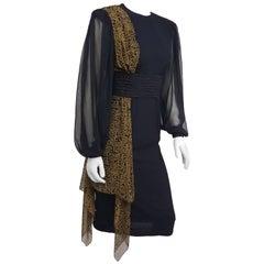 1980s Black Asymmetric Draped Chiffon Dress