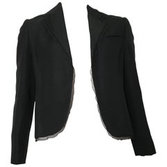 Bill Blass 1980s Black Linen with Lace Trim Jacket Size 8.