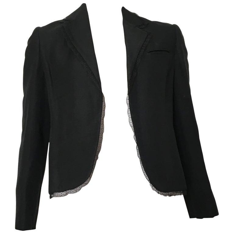 Bill Blass 1980s Black Linen with Lace Trim Jacket Size 8.