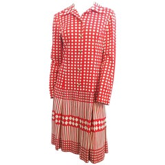 1960s Red & White Print Drop Waist Dress