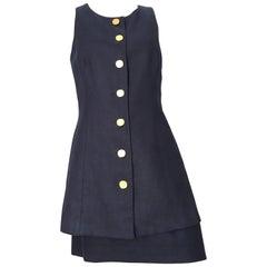Arnold Scaasi 1980s Navy Linen Jacket & Skirt Set Size 8.