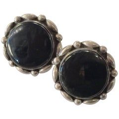 Mexican Sterling LEY Onyx Round Screwback Earrings