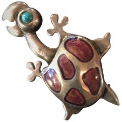 Mexican Sterling Silver Enamel DOMINGUEZ Turtle Pin Brooch