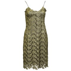 1980s Gianni Versace Gold Lace Slip Dress