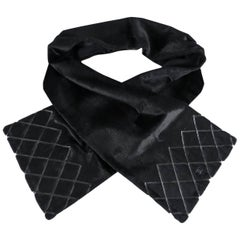 Chanel Black Fur Scarf with Leather Trim