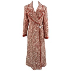 Chanel Red and Ivory Tweed Wool and Leather Long Coat