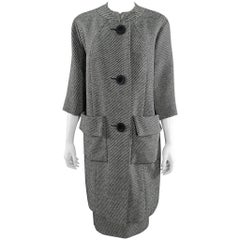 Pierre Cardin Jeunesse Black and White Tweed Wool Skirt and Coat Set, 1960s
