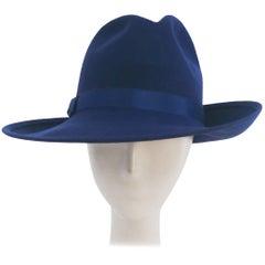 1980s Cobalt Blue Wide Brim Women's Fedora