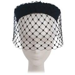 1960s Black Veil Cocktail Hat