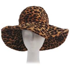 1960s Lilly Dache Leopard Print Wide Brim Hat