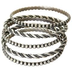 Set of Five Sterling Silver Native American Bangle Bracelets