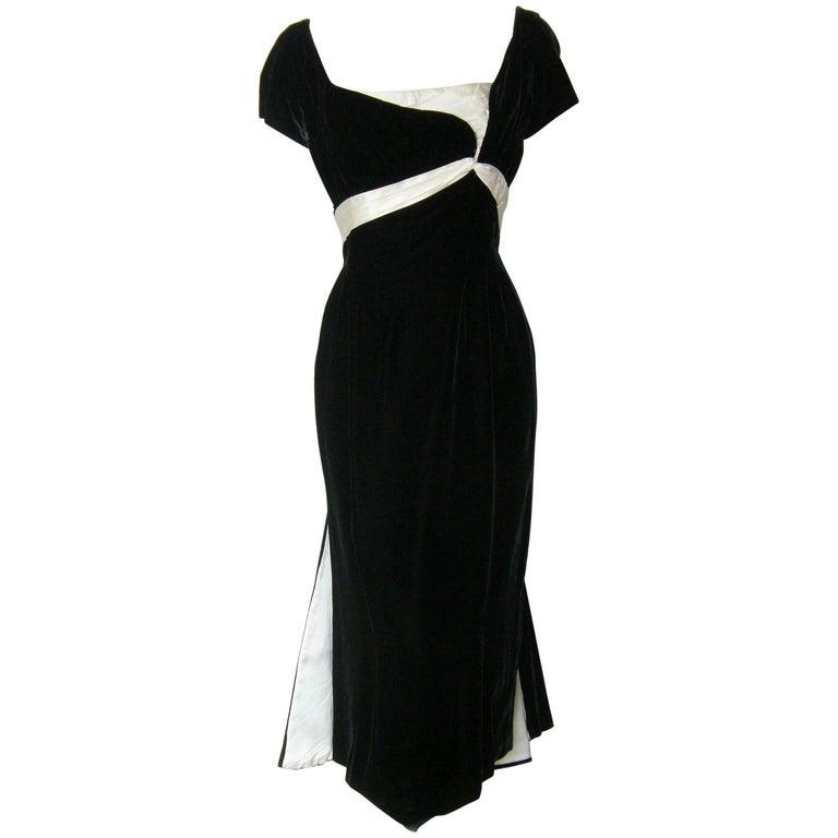 Ceil Chapman Black Velvet and Ivory Satin Cocktail Dress 1