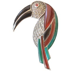 Huge Gemstone and Sterling Silver Toucan Brooch. Deco Style. 1970's.