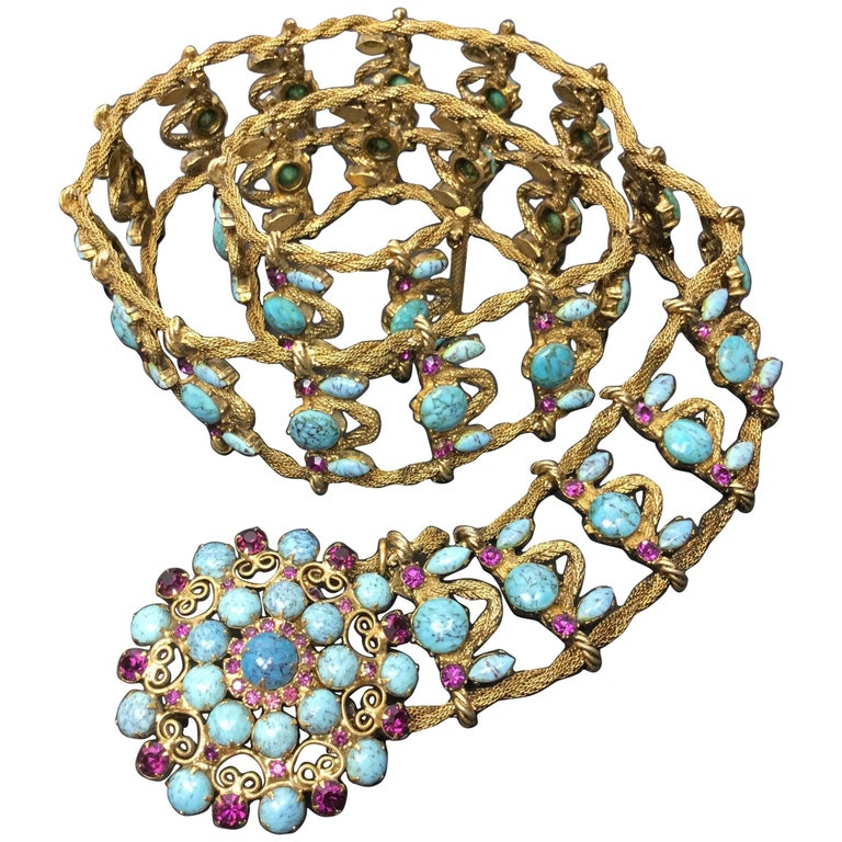 Incredible Yves Saint Laurent Metal Belt with Faux Turquoise Cabochons. 1970's.