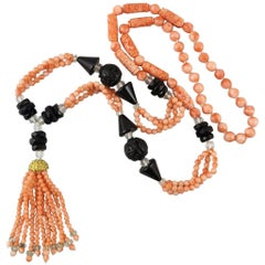 Art Deco Style Carved Natural Coral and Onyx Sautoir Necklace.  1960's.