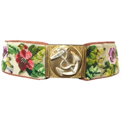 Rare Victorian Berlin Wool Work Floral Belt. Hand Stitched. 1870's.