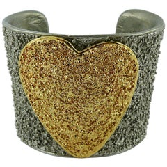 Yves Saint Laurent YSL Vintage Two Tone Heart Cuff Bracelet
