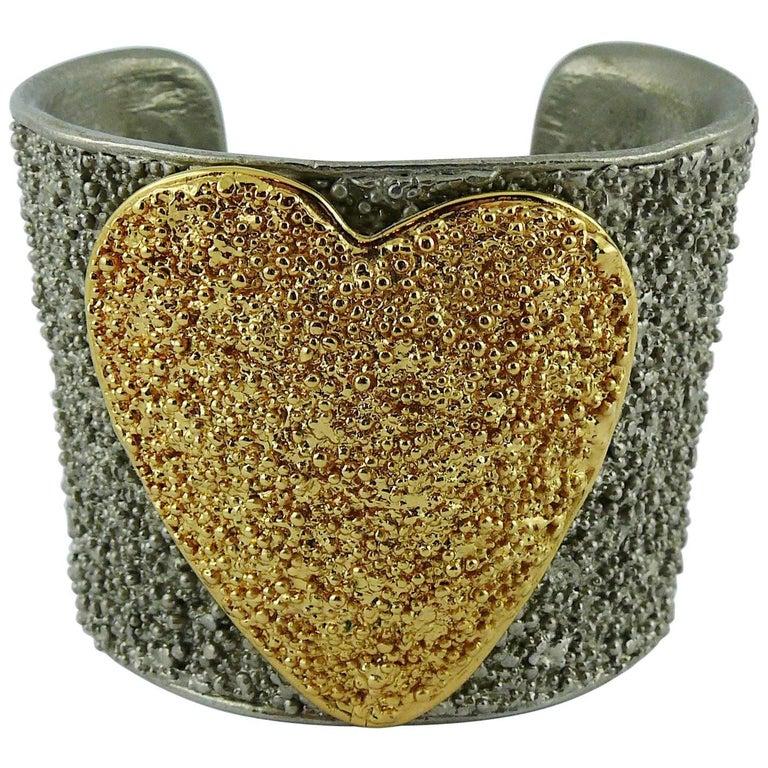 900d59a791c Yves Saint Laurent YSL Vintage Two Tone Heart Cuff Bracelet For Sale ...
