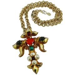 Christian Lacroix Vintage Runway Jewelled Cross Necklace