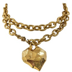 Sonia Rykiel gold tone heart pendant belt/necklace