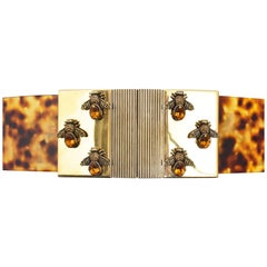 Alexander McQueen Tortoiseshell Perspex Belt with Gold Clasp and Bees S/S13