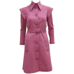 Futuristic 1960's Geoffrey Beene Mauve Wool Knit Coat Dress