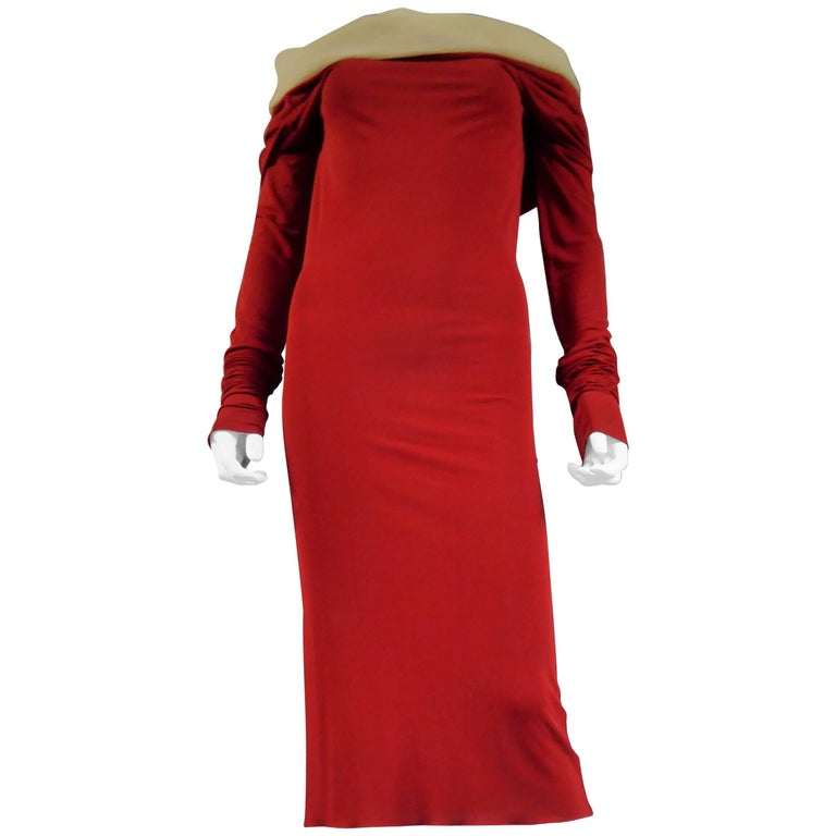 Jean Paul Gaultier Long Red Jersey Knit Dress, Circa 1990