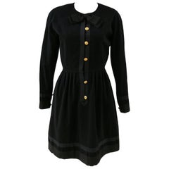 Chanel black wool gold tone bottons dress